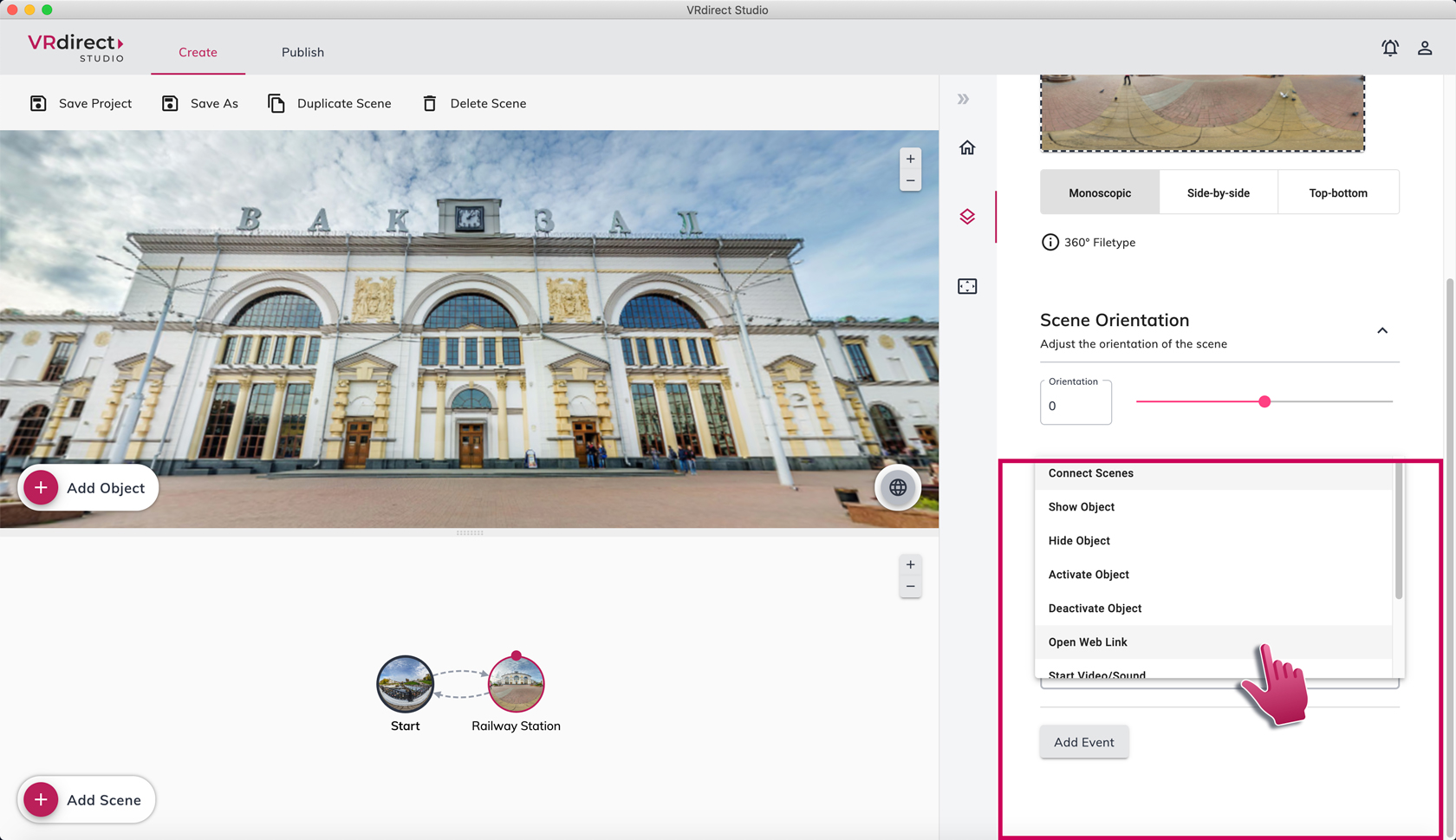 New feature in VRdirect Studio 2.2.0: Add external web links to your VR project and overcome software borders