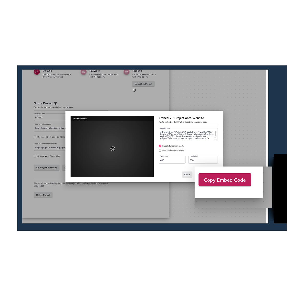 VRdirect Webplayer Embedding