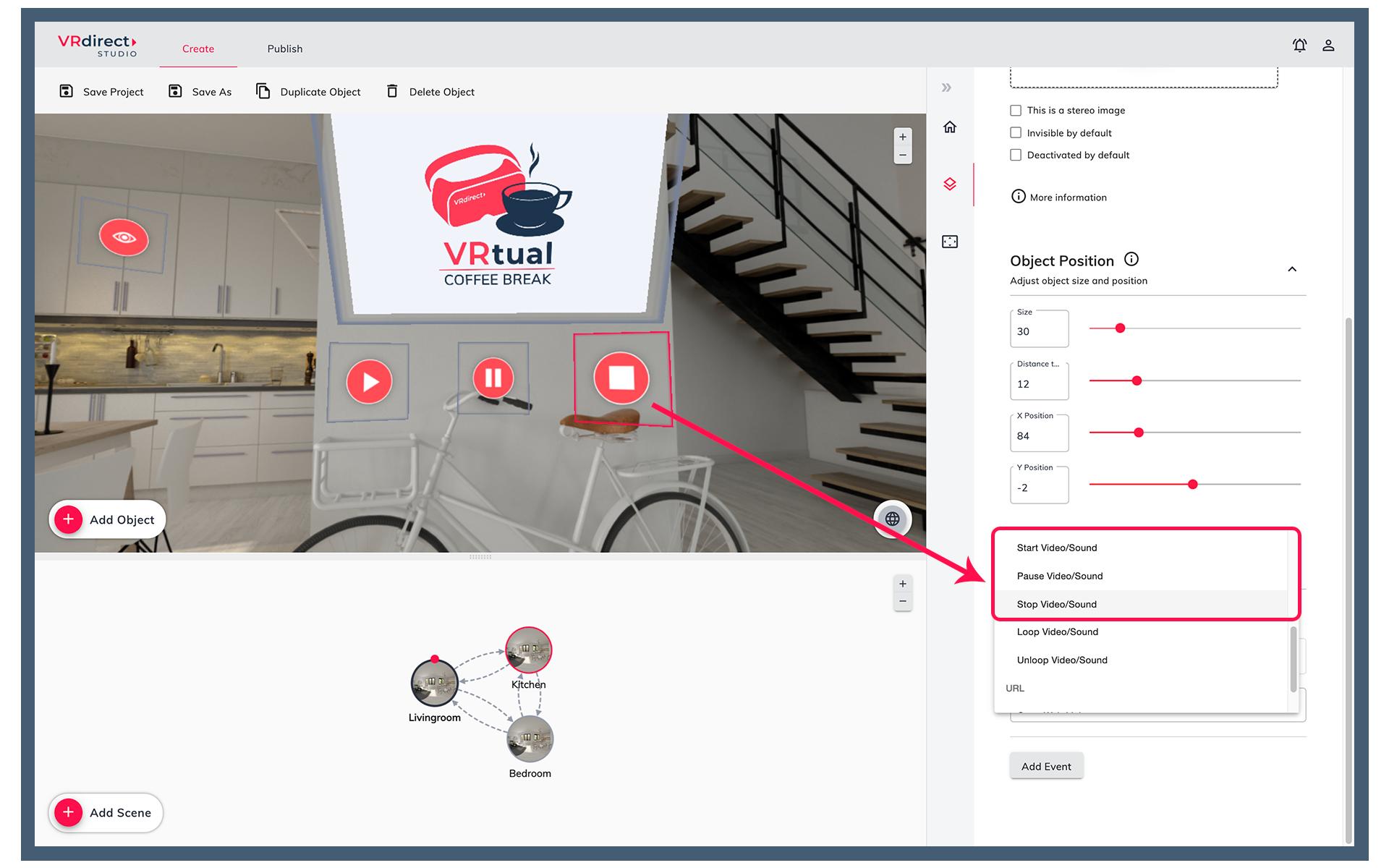 VRdirect Studio 2.5: Addingplay,pause and stopbuttons